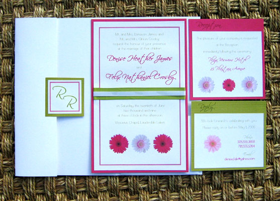 Pink and Green Wedding Invitations 01