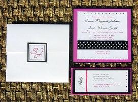 Pink and Black Wedding Invitation 01