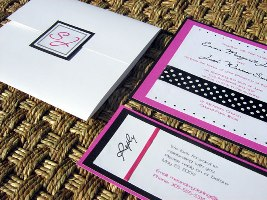 Pink and Black Wedding Invitation 04