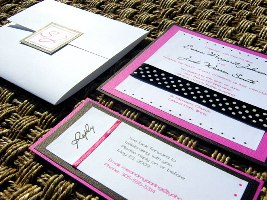 Pink and Black Wedding Invitation 05