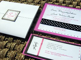 Pink and Black Wedding Invitation 06