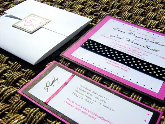 Pink and Black Wedding Invitation 05 Pink and Black 05