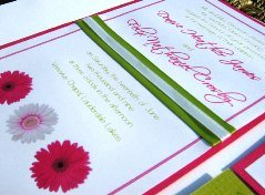 Pink and Green Wedding Invitations 08