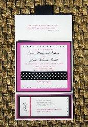 Pink and Black Wedding Invitation 08